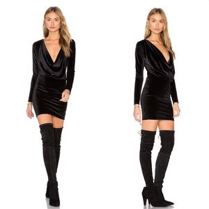 Motel Locato Dress in Black Velvet